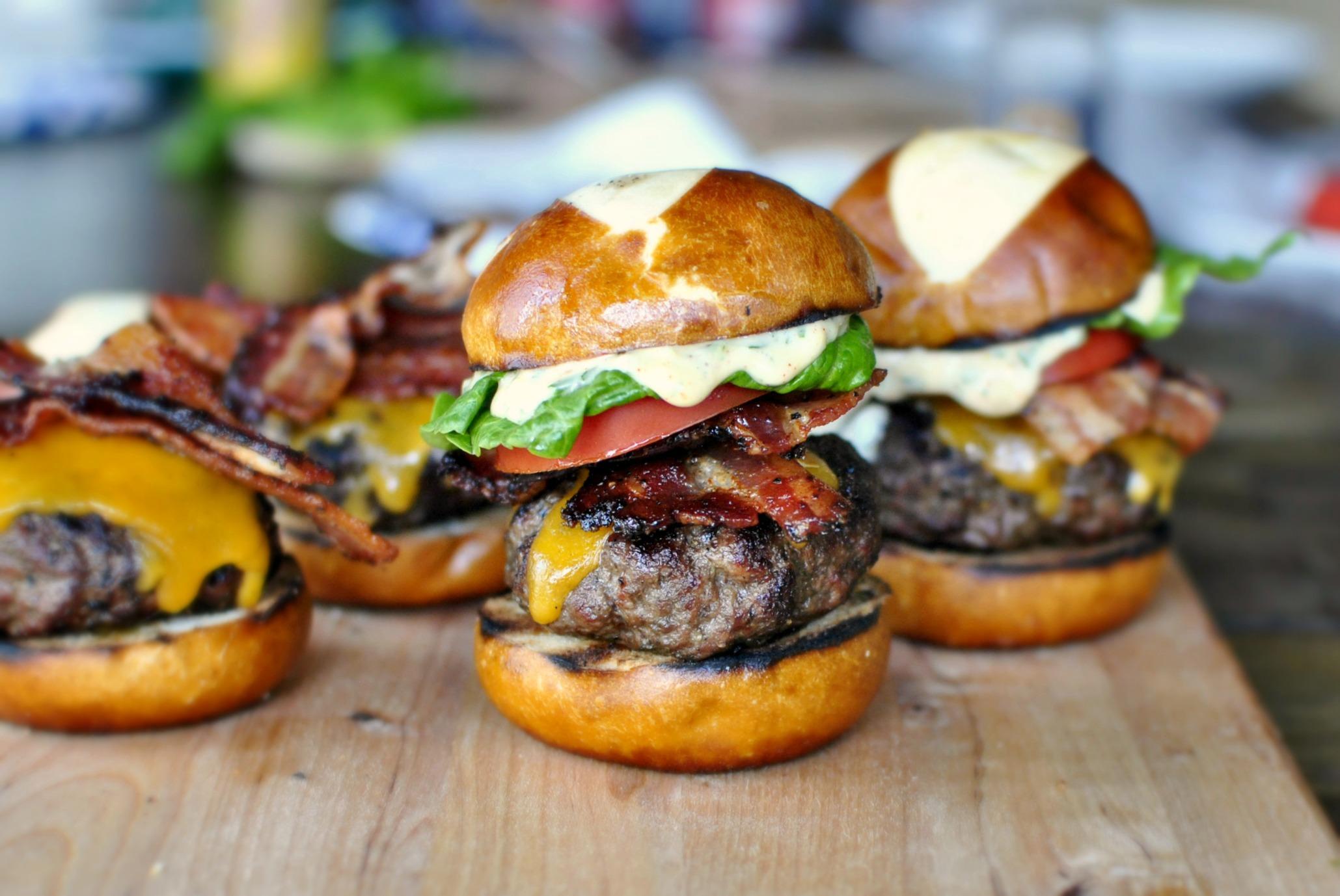 Simply Scratch » Bacon Cheddar Ranch Pub Burgers