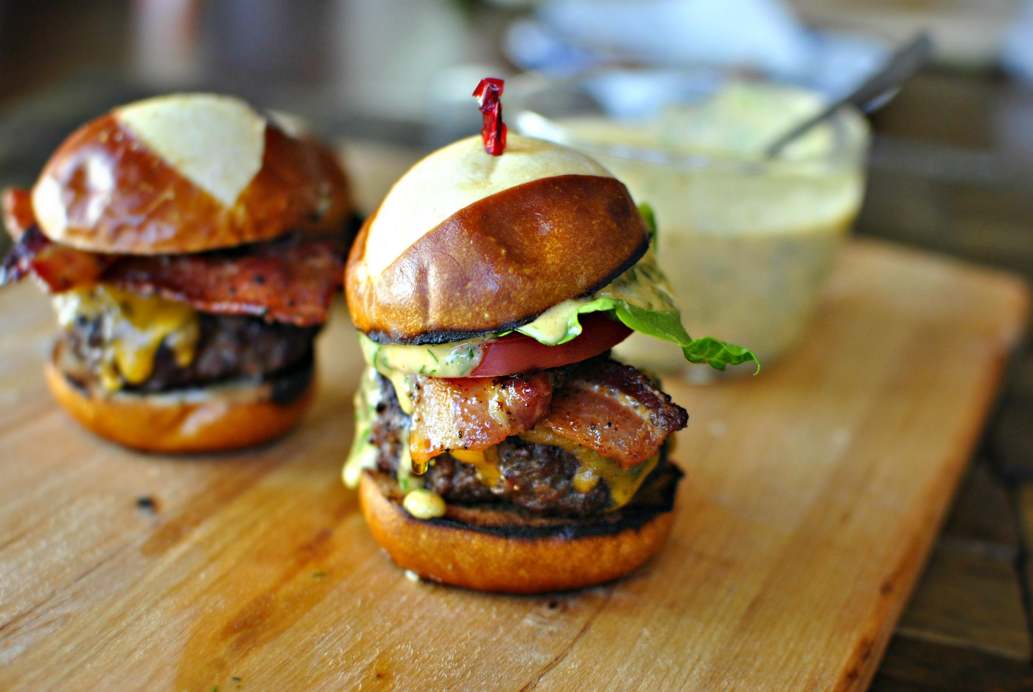 Simply Scratch Bacon Cheddar Ranch Pub Burgers - Simply Scratch