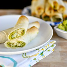 Cheesy Chicken and Cilantro Pesto Baked Flautas - www.SimplyScratch.com