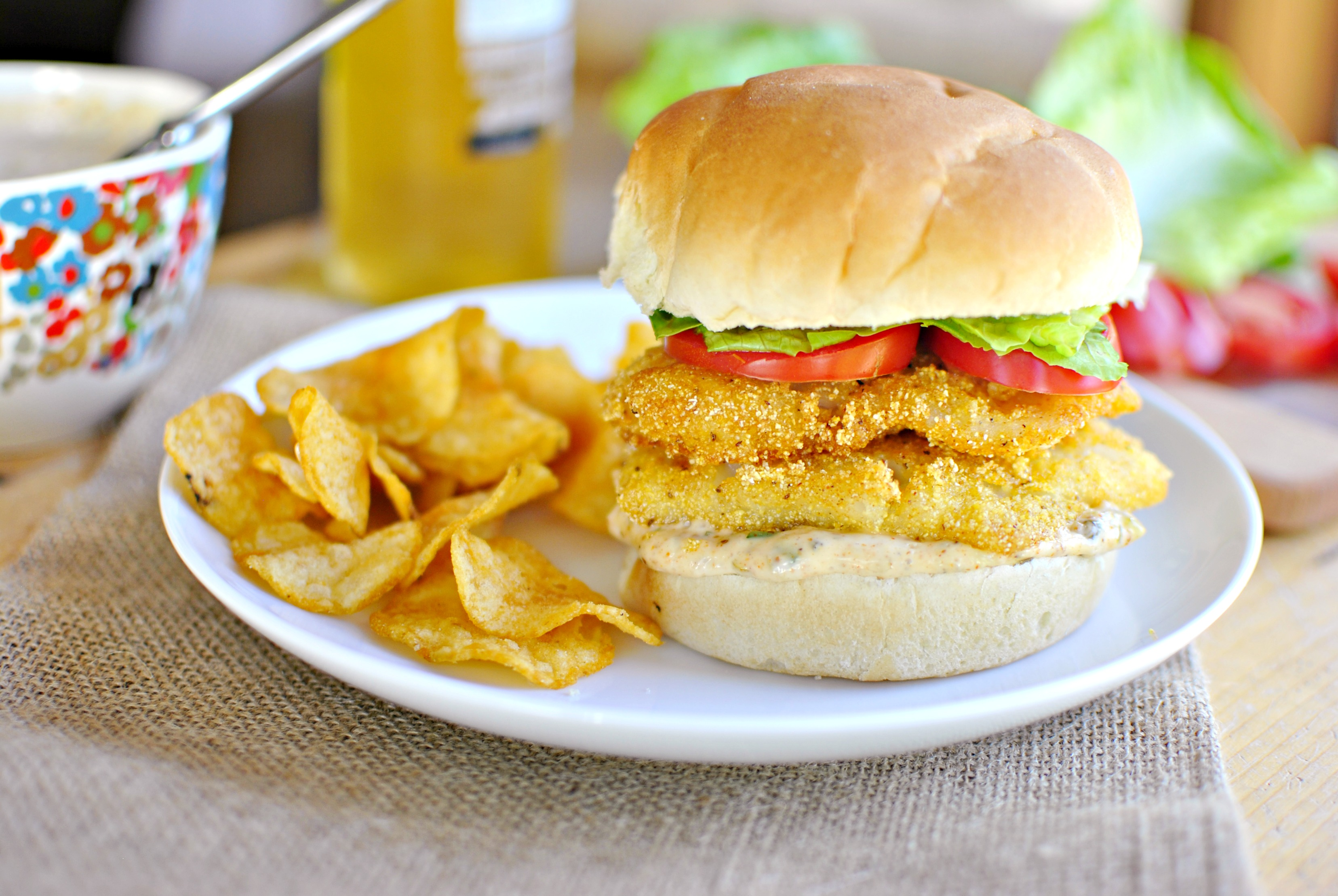 simply scratch cornmeal crusted fish sandwiches with old. Black Bedroom Furniture Sets. Home Design Ideas
