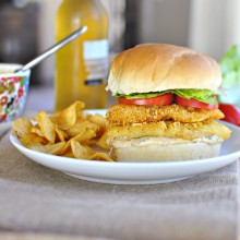 Cornmeal Crusted Cod Sandwich with Old Bay Tartar Sauce www.SimplyScratch.com