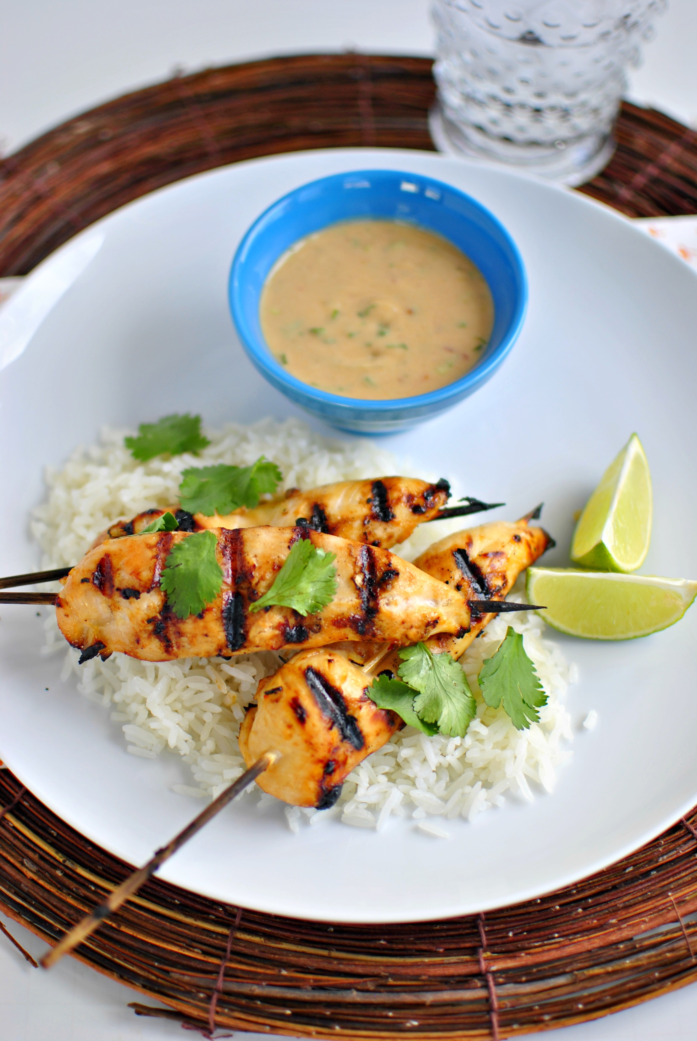 Simply Scratch Thai Chicken Satay and Peanut Sauce + Ginger Coconut ...
