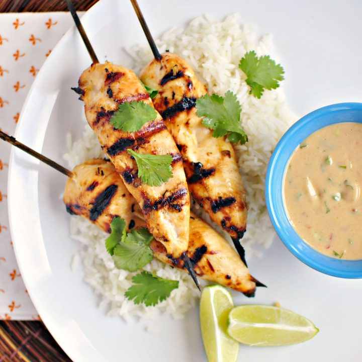 Thai Chicken Satay and Peanut Sauce + Ginger Coconut Rice