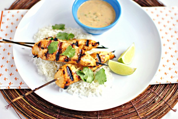 Thai Chicken Satay Skewers and Peanut Sauce  www.SimplyScratch.com