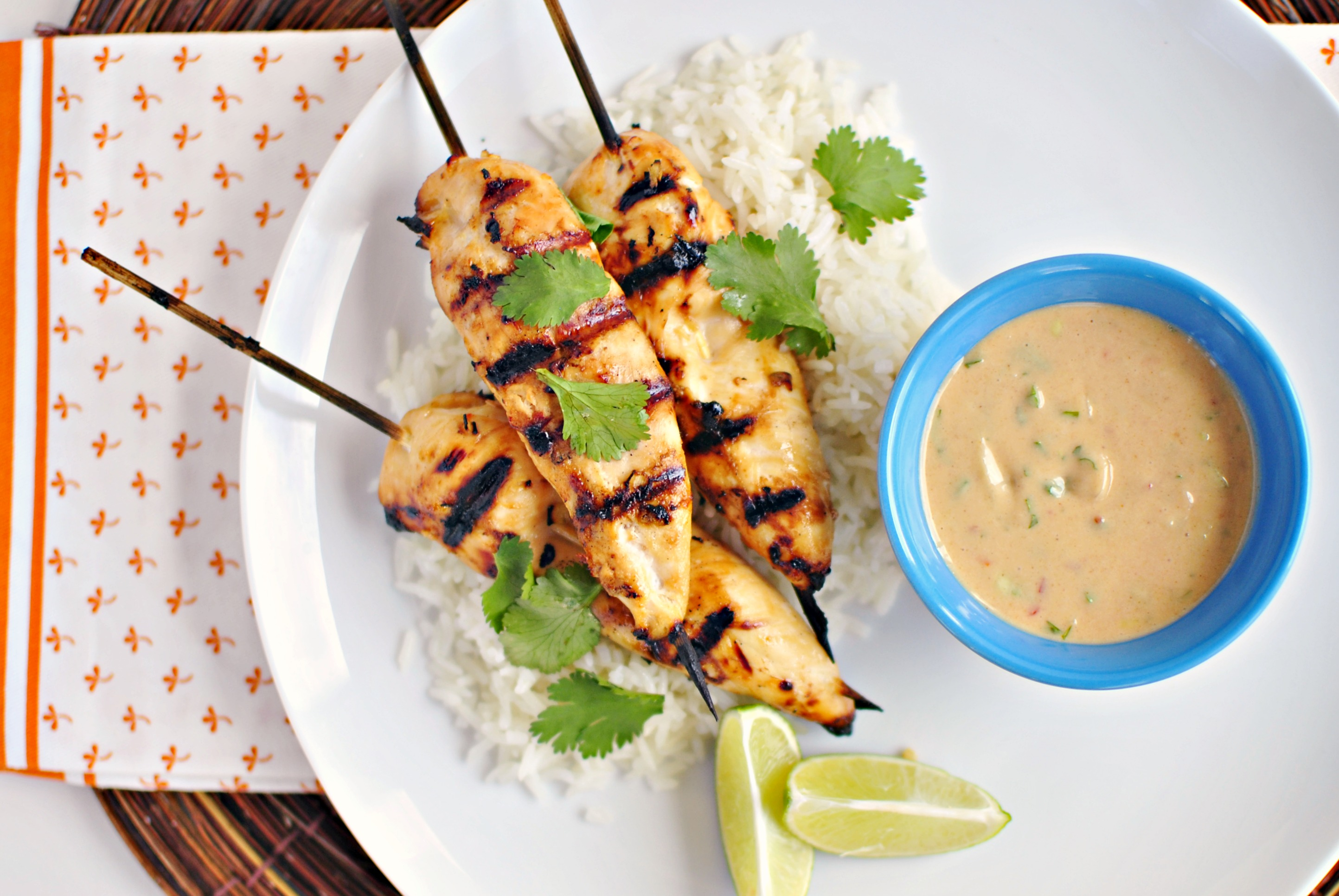 ... Thai Chicken Satay and Peanut Sauce + Ginger Coconut Rice » Print