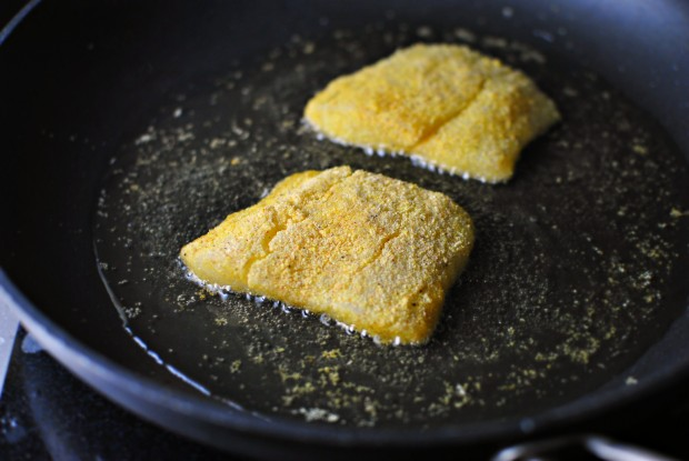 Simply scratch cornmeal crusted fish sandwiches with old for Frying fish in olive oil