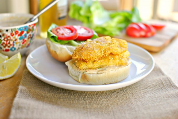 Cornmeal Crusted Fish Sandwiches l SimplyScratch.com