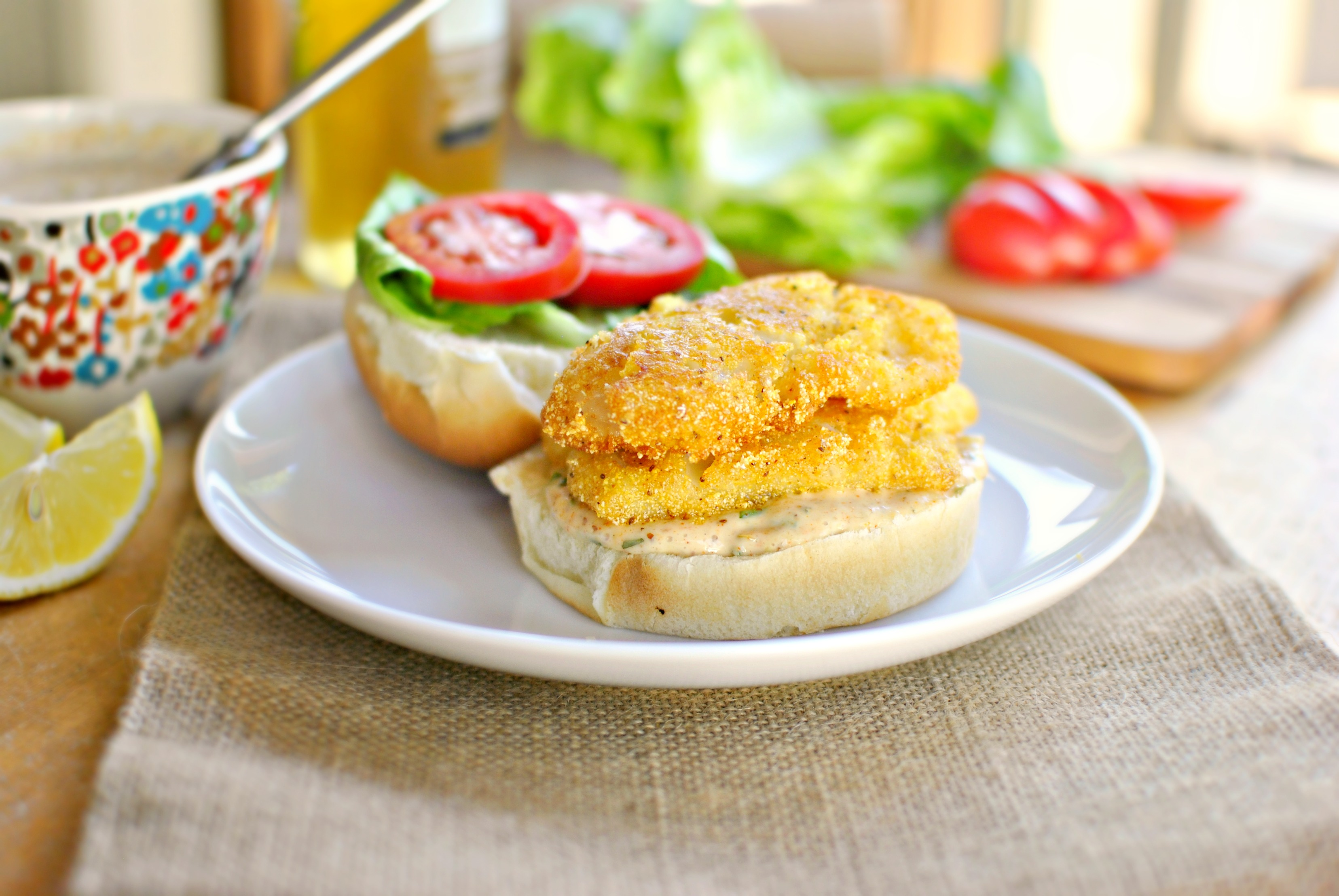 Simply scratch cornmeal crusted fish sandwiches with old for Tartar sauce for fish