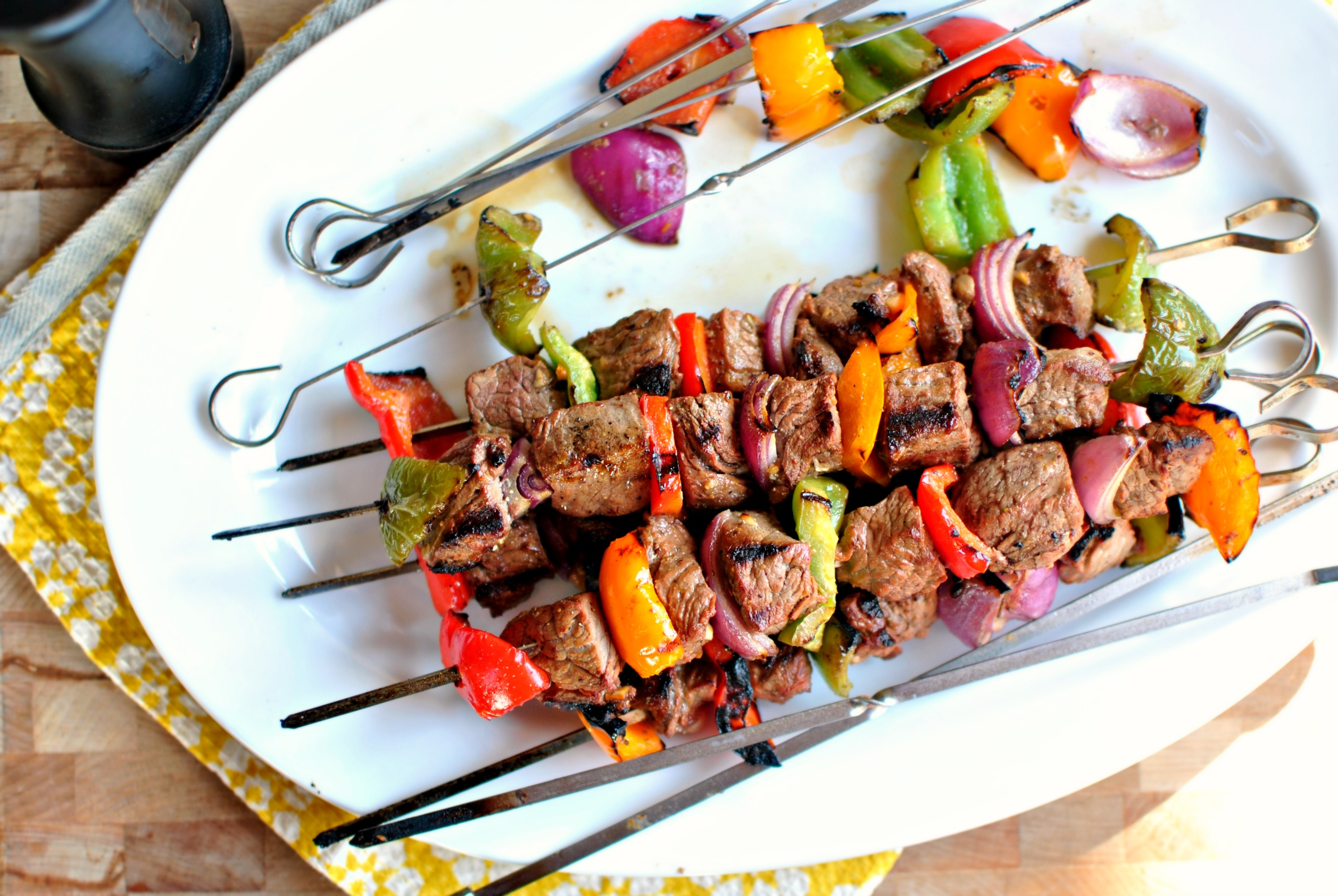 ... steak as I am about these easy marinated steak kebabs… or kababs, or