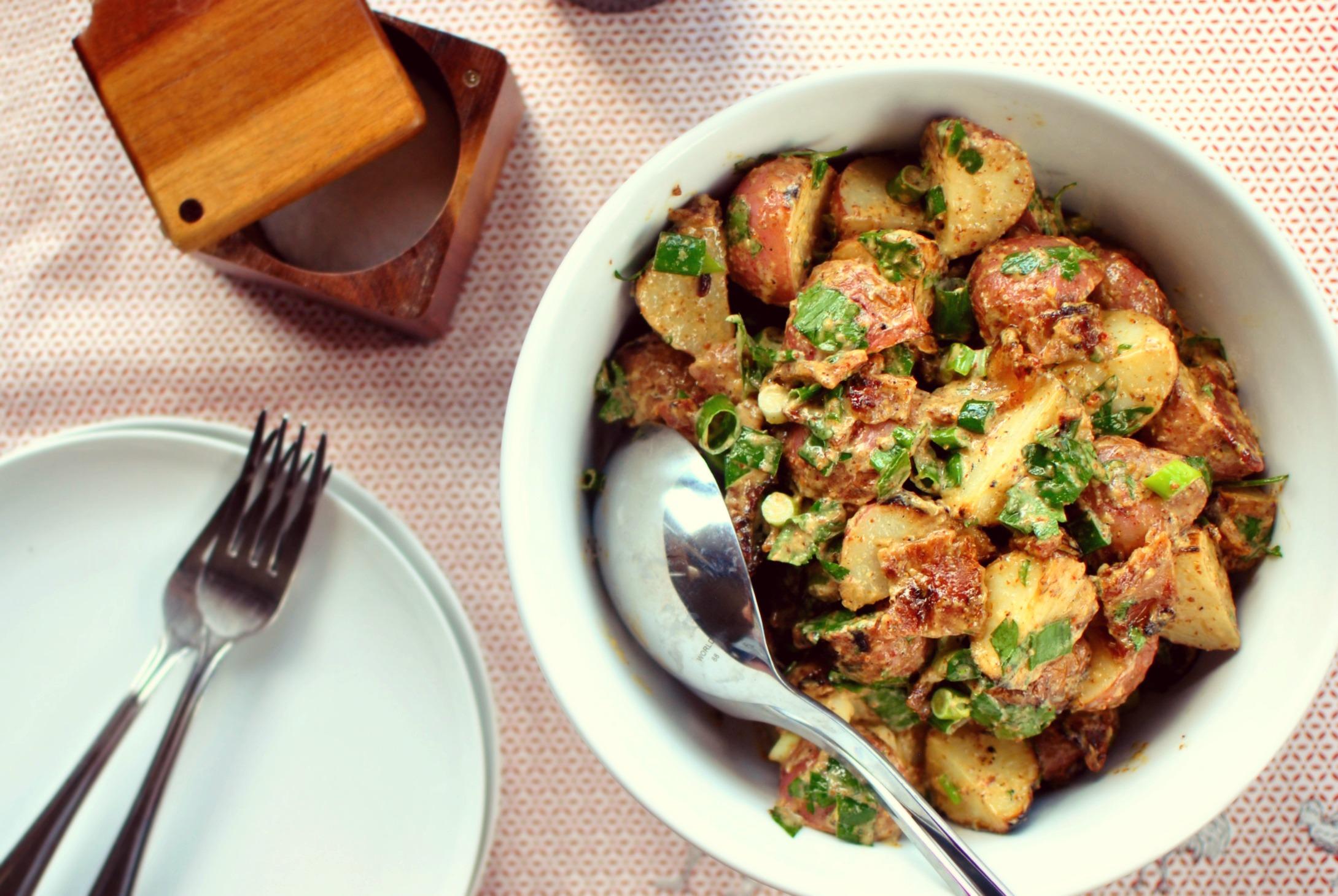 Simply Scratch Grilled Potato Salad + Bacon-Dijon Vinaigrette - Simply ...