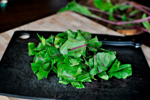 coarsely chopped beet greens