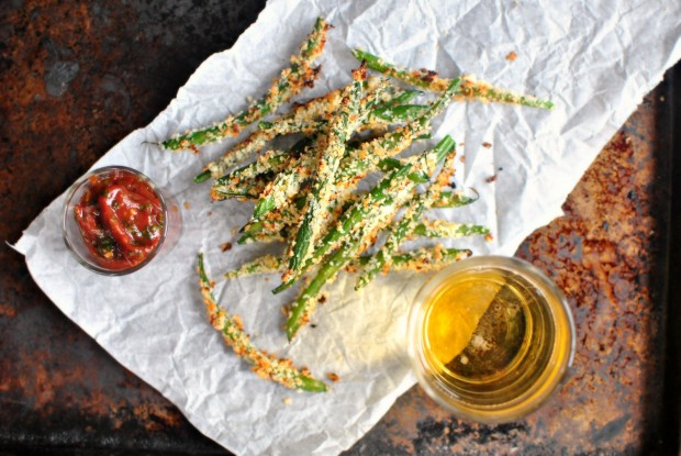 Baked Asiago Green Bean Fries and Spicy Tomato-Basil Ketchup