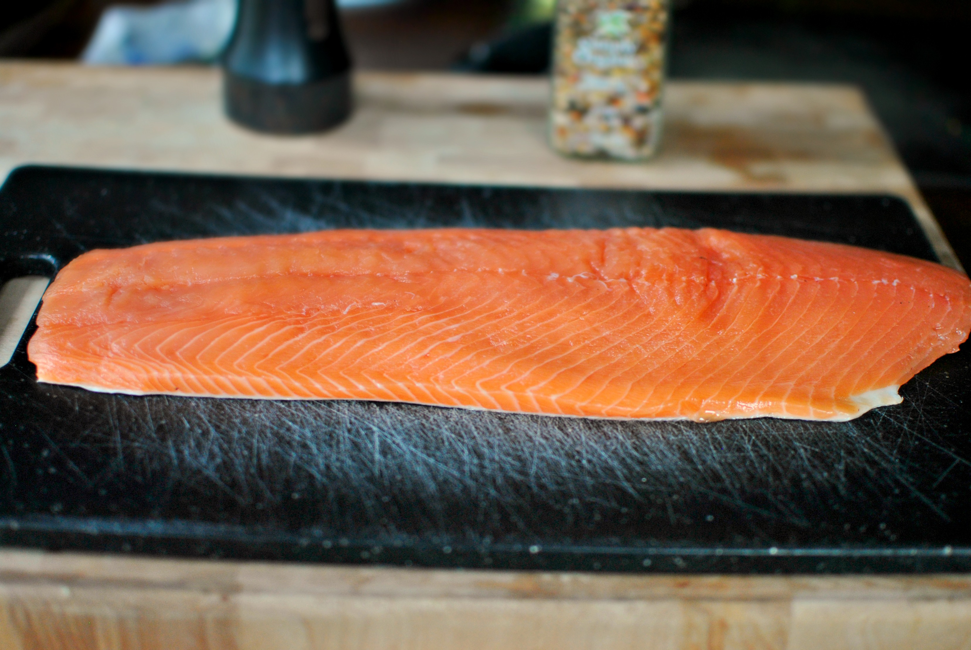 Lay The Salmon, Skinsidedown On A Cutting Board This Salmon Fillet Is  About A Pound And A Half