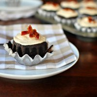 Chocolate Stout Cupcakes + Brown Butter Frosting and Maple Glazed Bacon