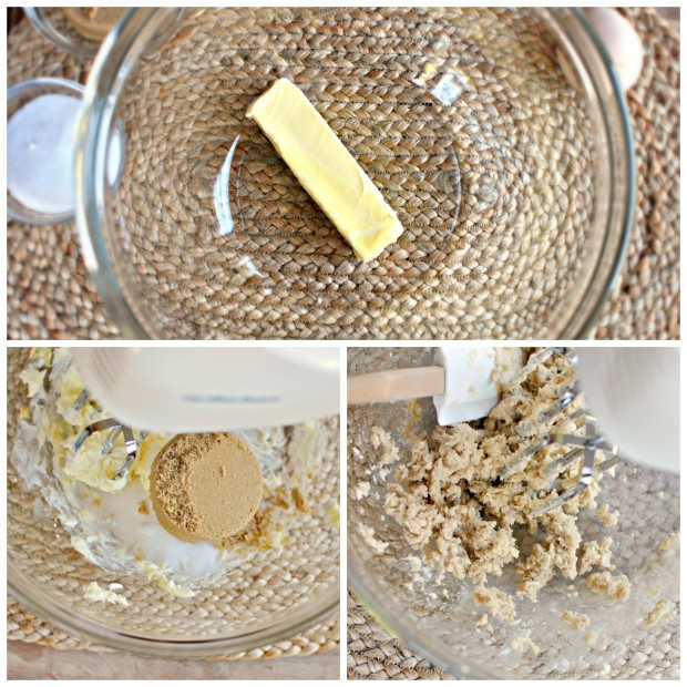 butter, sugar, mix collage