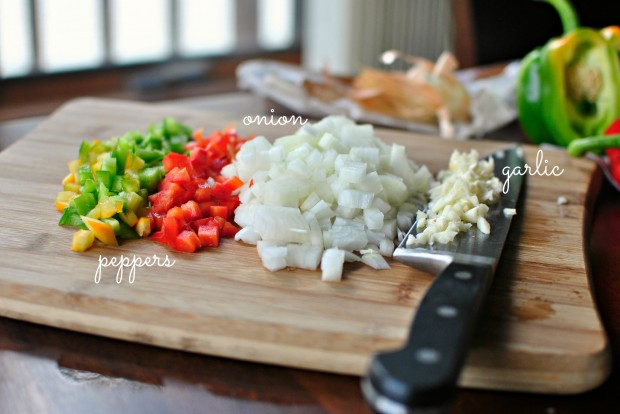 diced peppers, onion and garlic