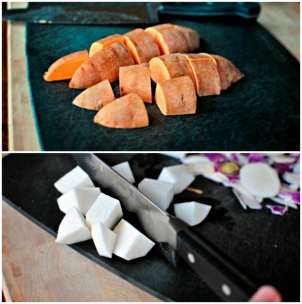 sweet potato and turnips