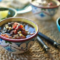 Black Bean and Corn Soup  with Spicy Mexican Three Cheese Quesadillas
