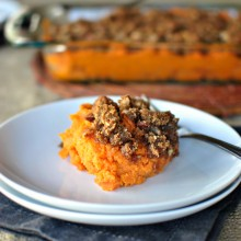 Bourbon Bacon Sweet Potato Casserole - www.SimplyScratch.com
