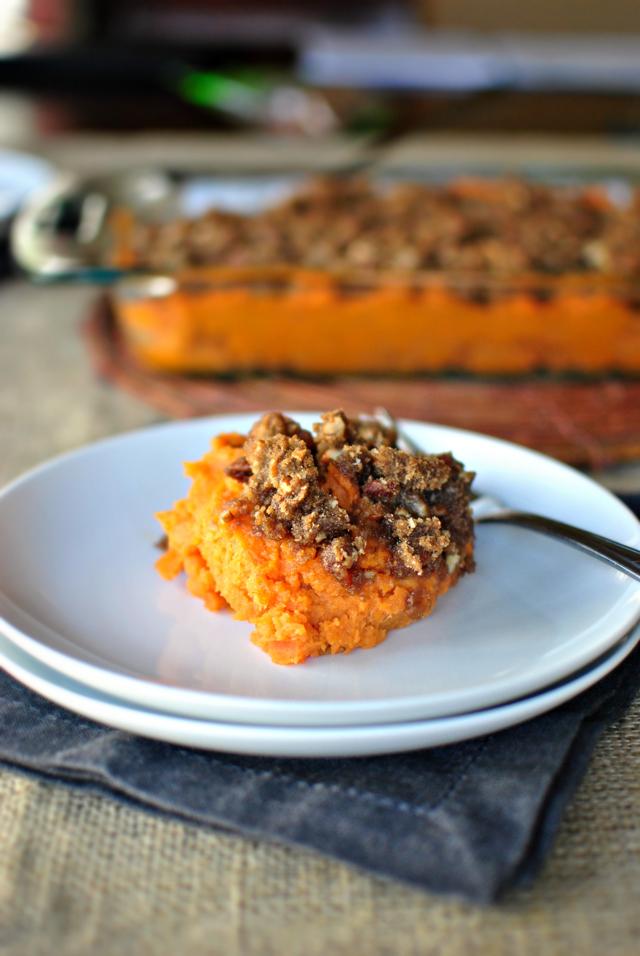 Simply Scratch » Bourbon Bacon Sweet Potato Casserole