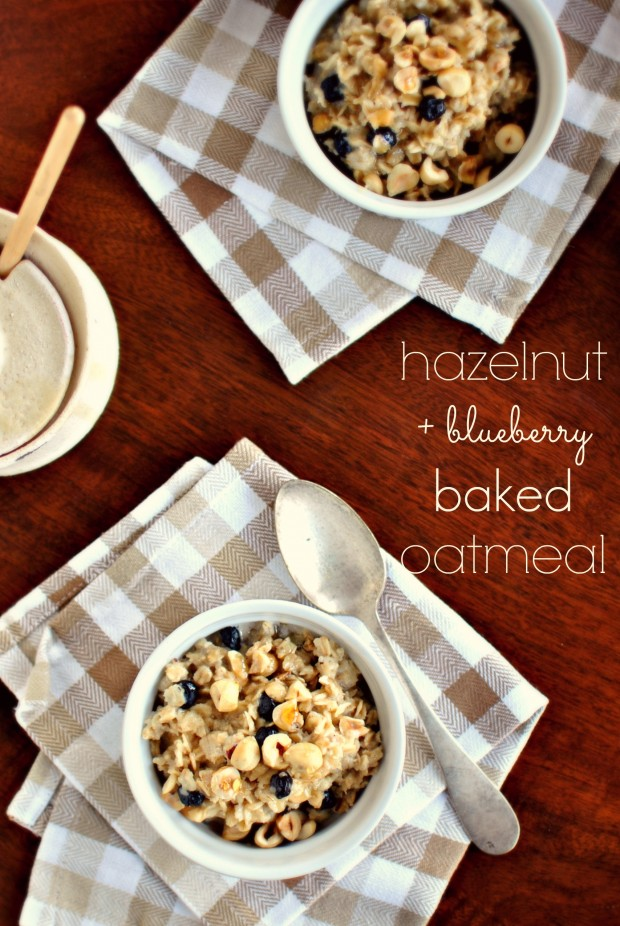 Hazelnut and Blueberry Baked Oatmeal