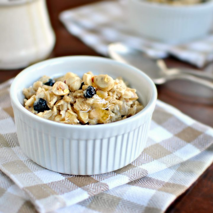 Toasted Hazelnut and Blueberry Baked Oatmeal