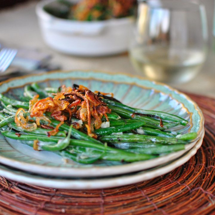 Homemade Green Bean Casserole with Crispy Fried Shallots