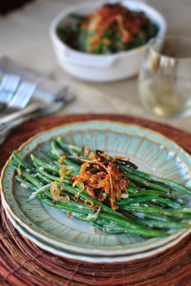 Homemade Green Bean Casserole with Crispy Fried Shallots www.SimplyScratch.com