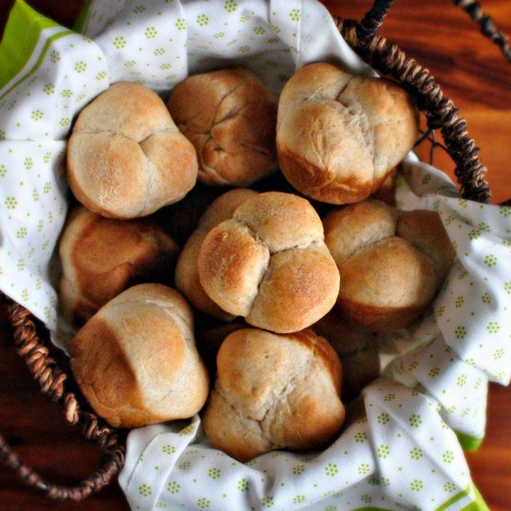 Honey Wheat Cloverleaf Dinner Rolls