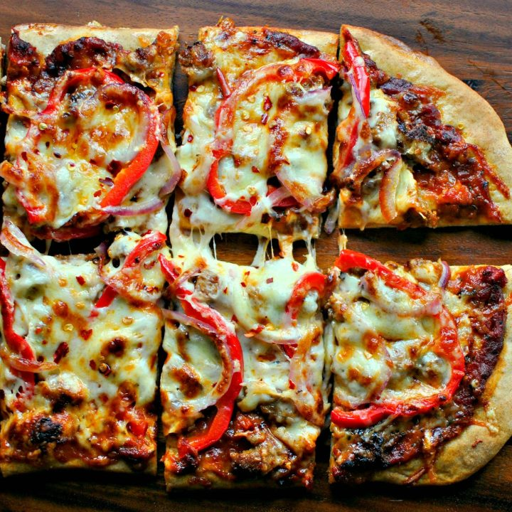 Spicy Three Cheese and Italian Sausage Red Pepper Pizza