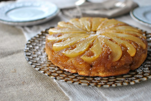 Gingered Pear Brown Butter Upside Down Cake l SimplyScratch.com