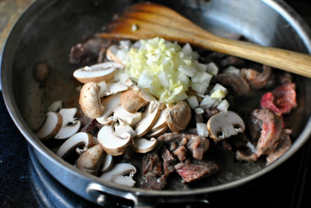 mushrooms, onions and garlic