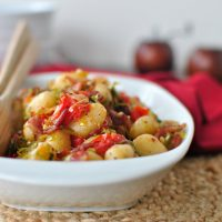 Pan-Toasted Gnocchi with Bacon, Leeks and Fresh Tomato