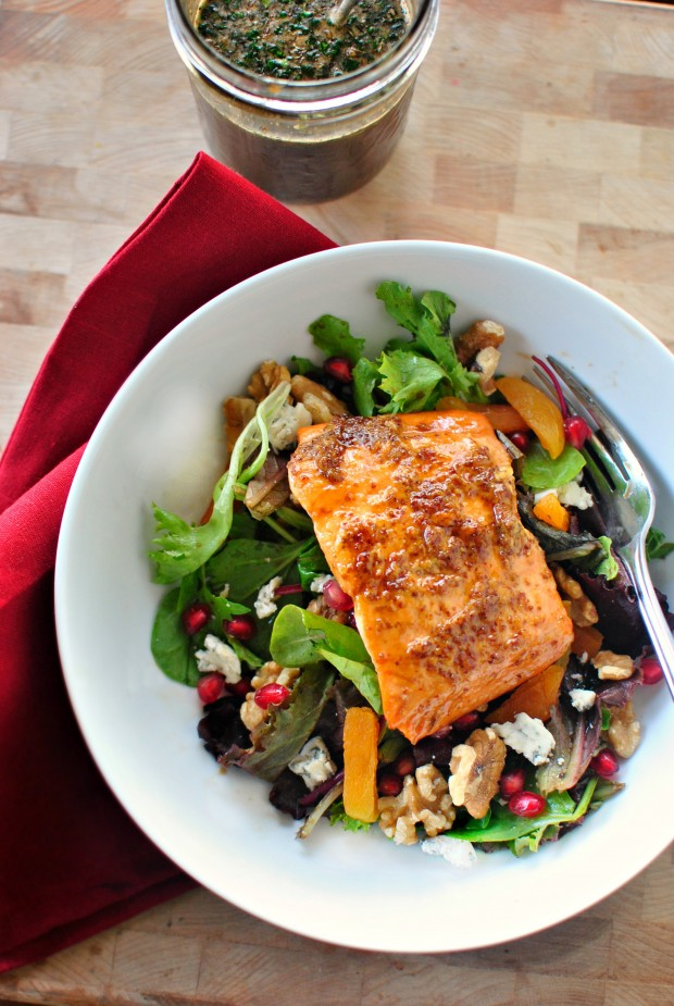 Glazed Salmon Winter Salad + Sweet Balsamic Vinaigrette - www.SimplyScratch.com #salmon