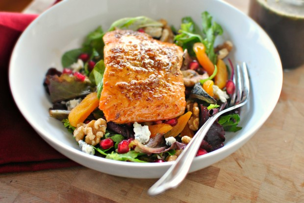 Glazed Salmon Winter Salad + Sweet Balsamic Vinaigrette - www.SimplyScratch.com #salmonrecipe