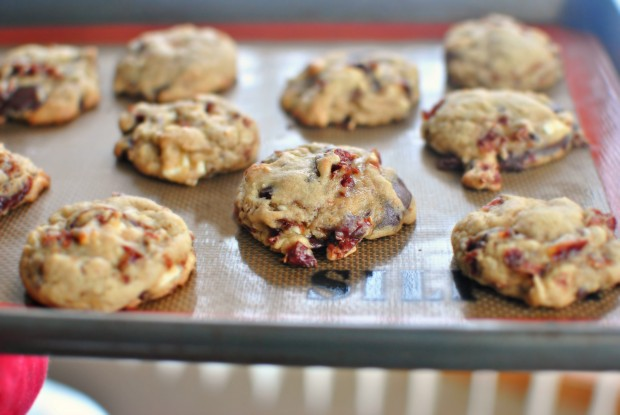 Rum Cherry Double Chocolate Chunk Cookies l SimplyScratch.com