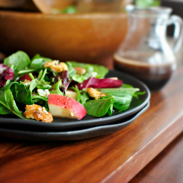 Apple, Cherry and Candied Walnut Salad + Cherry Balsamic Vinaigrette