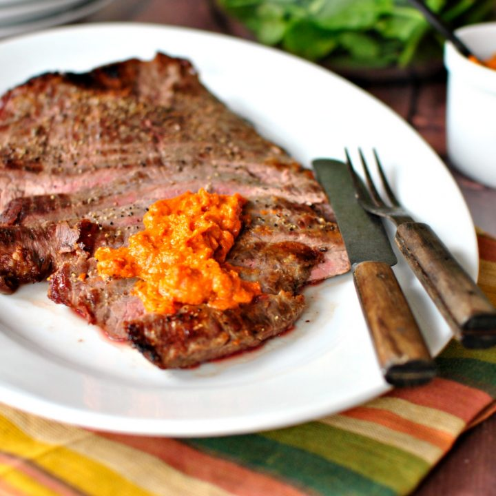 Broiled Flank Steak with Homemade Romesco Sauce