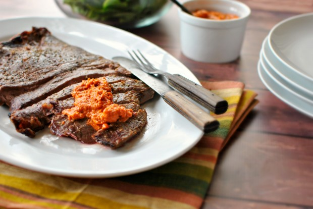 Flank Steak with Romesco Sauce l SimplyScratch.com