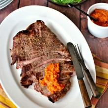 Broiled Flank Steak with Homemade Romesco Sauce  www.SimplyScratch.com