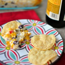 Cheesy Corn + Black Bean Dip  www.SimplyScratch.com