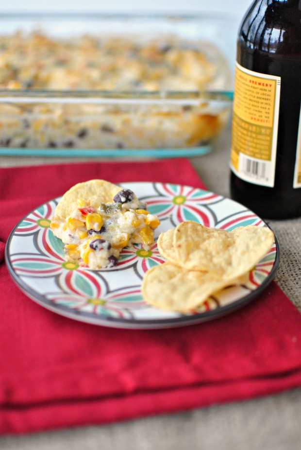 Cheesy Corn Black Bean Dip l SimplyScratch.com
