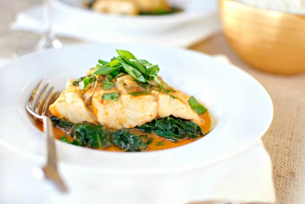 Thai Coconut Curry Poached Barramundi in a white dish