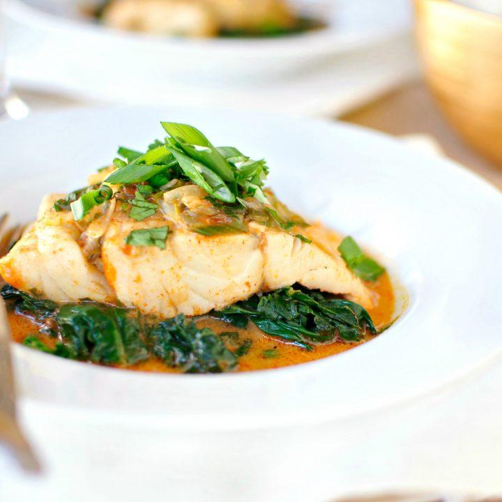 Thai Coconut Curry Poached Barramundi + Sautéed Spinach