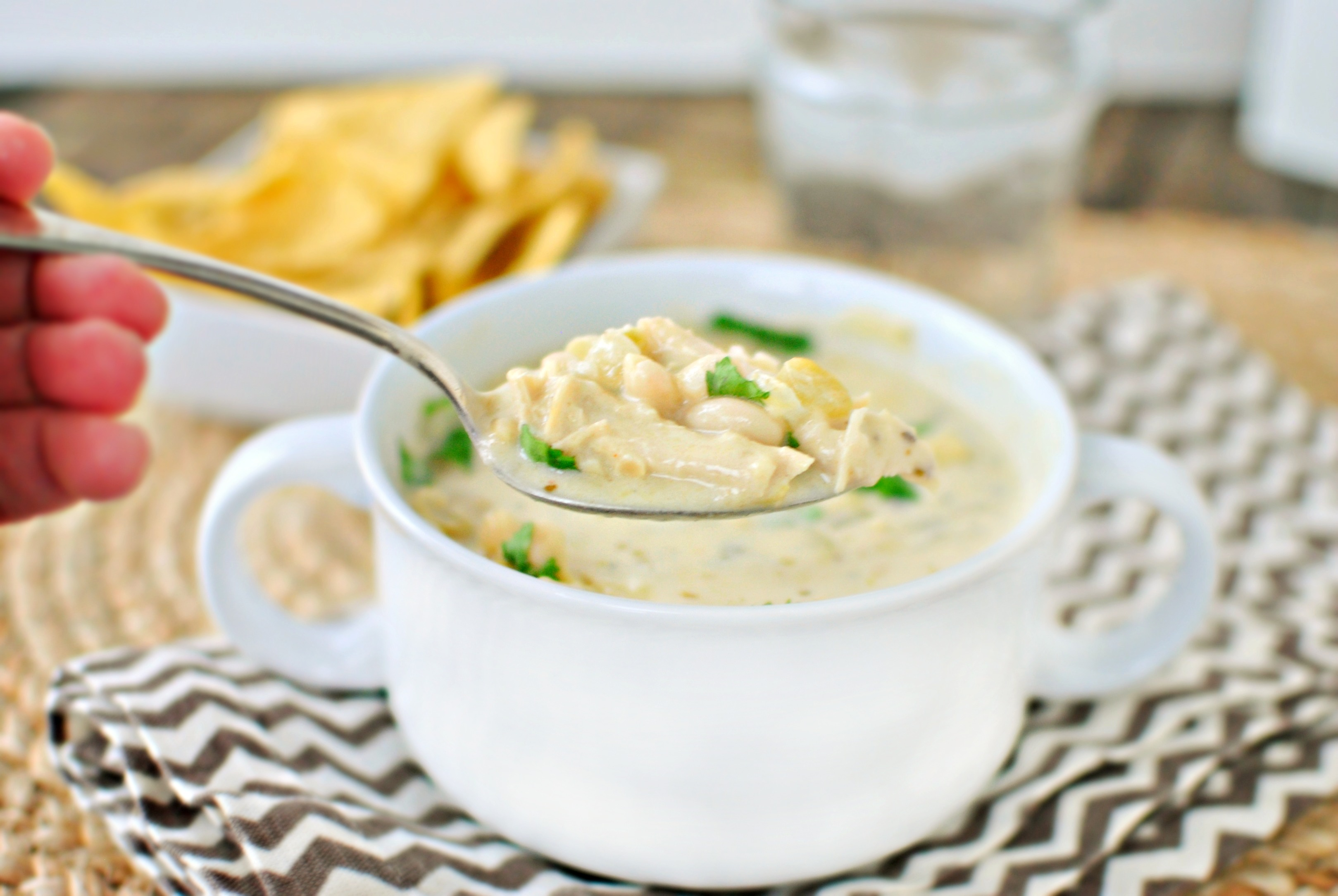 creamy white chicken chili shredded chicken white beans and tons of ...