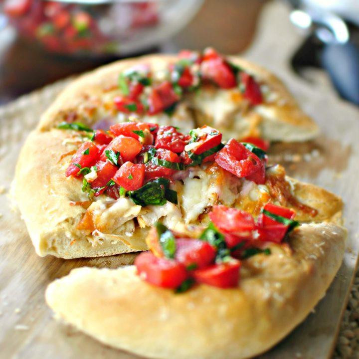 Grilled Chicken and Tomato Basil Bruschetta Pizza