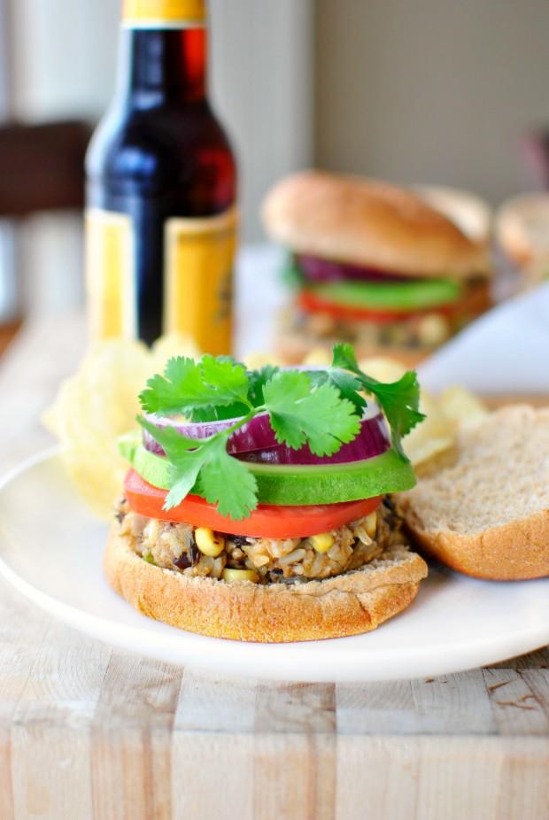 Southwest Black Bean + Rice Veggie Burger  l SimplyScratch.com