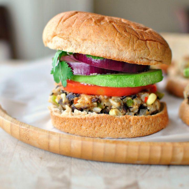 Southwest Black Bean + Rice Veggie Burgers