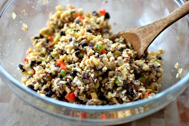 Southwest Black Bean Veggie Burgers www.SimplyScratch.com combine