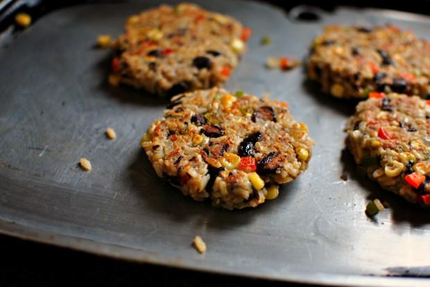 Southwest Black Bean Veggie Burgers www.SimplyScratch.com flip and repeat
